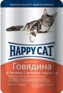 Happy Cat Говядина и печень с зеленым горошком, 100 гр