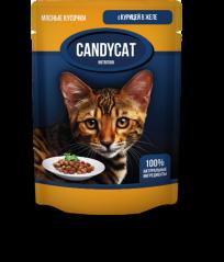 Candycat Мясные кусочки с Курицей в желе