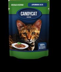 Candycat Мясные кусочки с Кроликом в желе